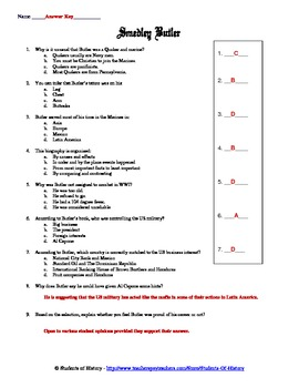 American Imperialism Smedley Butler Biography Worksheet By