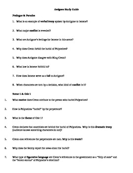 Antigone Study Guide Reading Questions By Mrs Doan TpT
