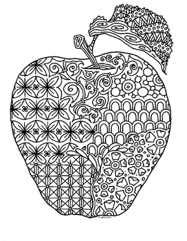 Apple Zentangle Coloring Page By Pamela Kennedy TpT
