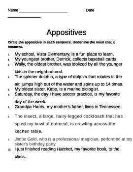 Appositive Worksheet By Gerald Gocken Ii