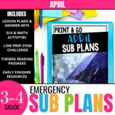 No Prep April Sub Plans for 3rd Grade & 4th Grade