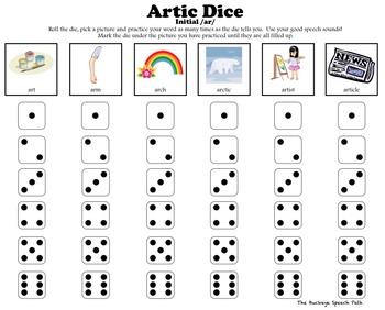 Artic Dice 6 Vocalic R Articulation Practice For Speech