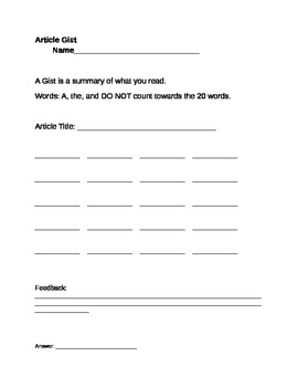 Article Gist Worksheet By A Love For Special Learning