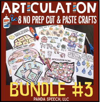 Articulation Cut & Paste BUNDLE #3 Speech Therapy Craft ...