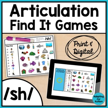 Articulation Activity Sh Find It Speech Therapy Game By