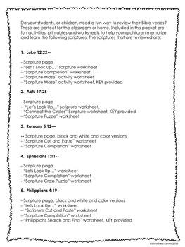 Bible Memory Scripture Verses Worksheets Activities