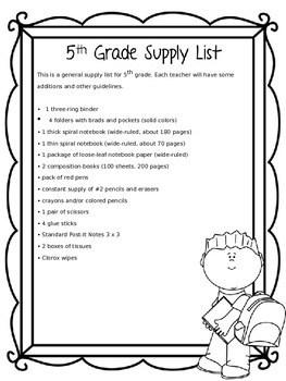 Back To School Editable Supply Lists By Carols Garden TpT