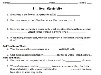 Bill Nye Electricity Video Worksheet By Mayberry In