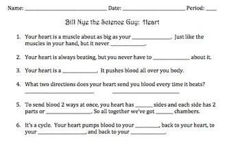 Bill Nye Heart Video Worksheet By Mayberry In Montana
