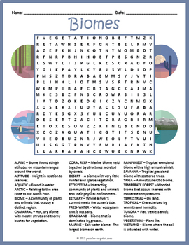 Biomes Word Search Puzzle By Puzzles To Print