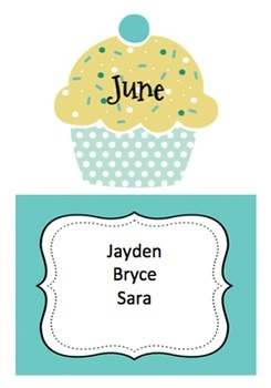 Birthday Chart Cupcakes By Karen Cox Teachers Pay Teachers