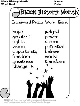 Black History Month Activities Crossword Puzzle Martin