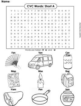Cvc Words Short A Worksheet Word Search By Science Spot