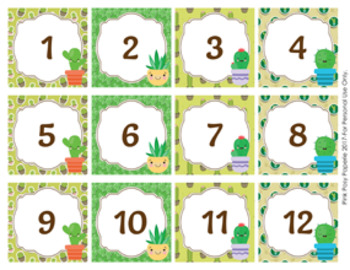 Cactus Calendar Numbers By Pink Posy Paperie Teachers