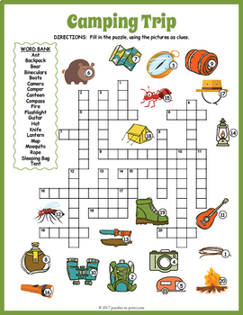 Camping Crossword Puzzle By Puzzles To Print