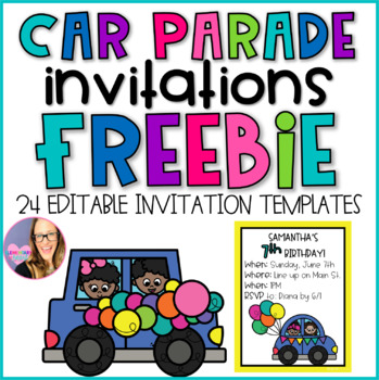 car parade invitations freebie by