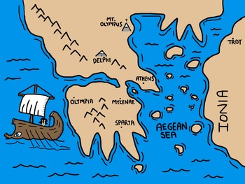 Cartoon Map of Ancient Greece by I Before E   Teachers Pay Teachers Cartoon Map of Ancient Greece