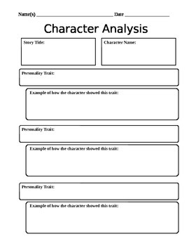 Characterysis Worksheet By Mightier Than The Sword