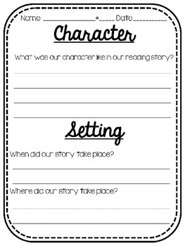 Character And Setting Worksheet By Mrs Crouse