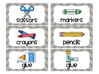 Chevron School Supply Labels For Everything Gray By Organized Chaos