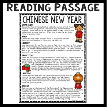 Chinese New Year Reading Comprehension Worksheet By