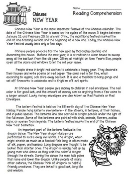 Chinese New Year Reading Comprehension Amp Writing By Free To Teach