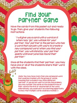 Christmas Compound Words Whole Group Center Games