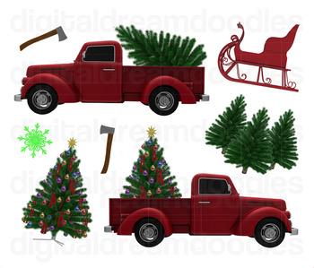 Christmas Tree Truck Clip Art Xmas Holiday Trucks