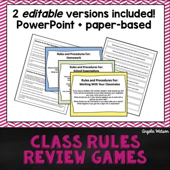 Class Rules Review Games Fun Paper Based Amp PowerPoint Activities