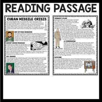 Cold War Cuban Missile Crisis Reading Comprehension