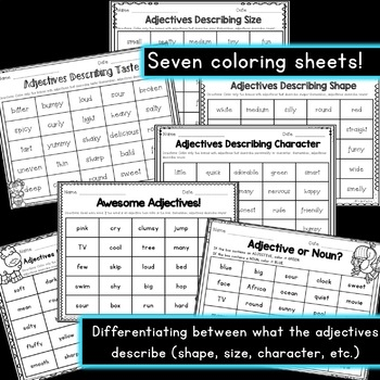 Adjective Worksheets Color The Adjectives 6 Pages By