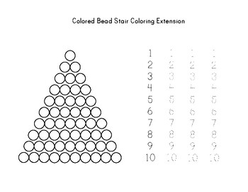 Colored Bead Stair Montessori Math Worksheet By My