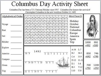 Columbus Day Activity Sheet By Empowered By Them