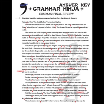Commas Final Review
