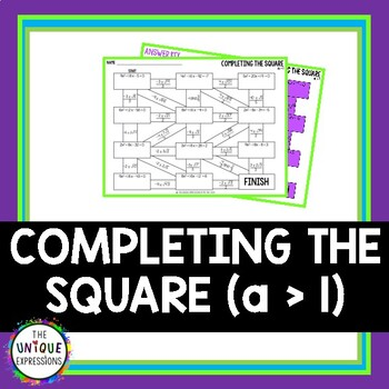 Completing the Square (a > 1) Maze Activity by The Unique ...