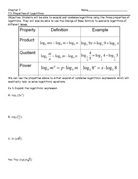 Expanding Logarithms Worksheet