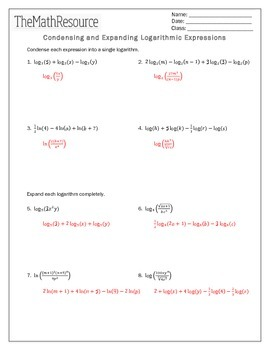 Condensing And Expanding Logarithmic Expressions