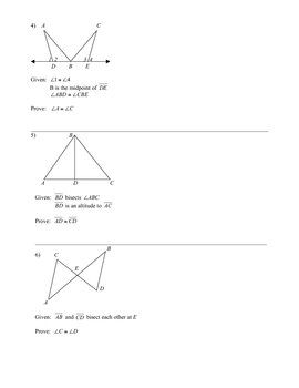 Congruent Triangles Worksheet Cpctc By Mary Oakes