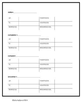 Conjugating Present Tense Ar Verbs Worksheet