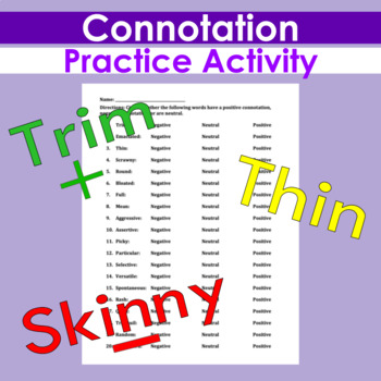 Connotation Practice Exercise By Creativity And Assessment