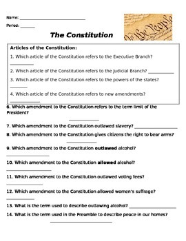 Constitutional Amendment Worksheet By Rebecca Miller