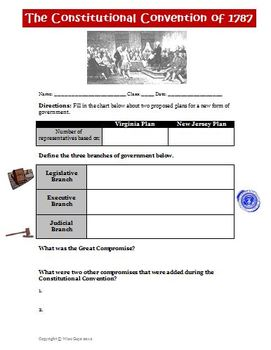 Constitutional Convention Great Compromise Worksheet