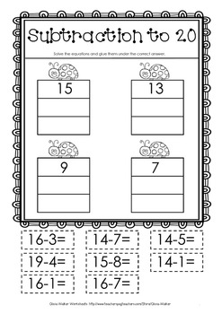 Cut And Paste Subtraction To 20 Twenty Worksheets