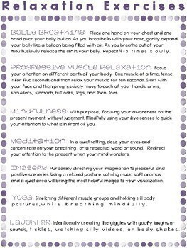 Stress Management Relaxation Worksheets And Handouts