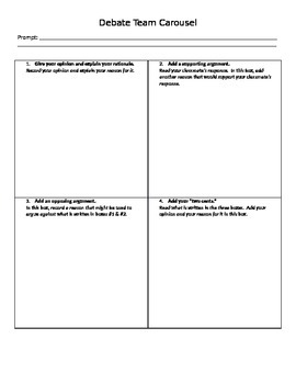 Debate Carousel Worksheet By Fitz S History Shoppe