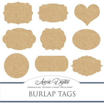 Digital Burlap Tags Clip Art Scrapbook Printables Fabric