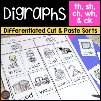 Digraphs Worksheets Cut And Paste Word Sorts Ch Sh Th