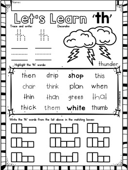 Digraphs Th Phonics Literacy Printables For Kindergarten