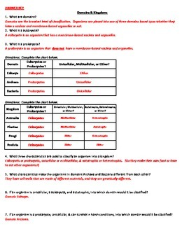 Domains Amp Kingdoms Classification Worksheet