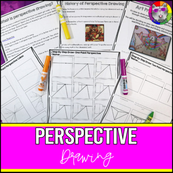 Teach a variety of techniques to create perspective drawing to your students! Teach about perspective, the history of perspective drawing, one-point cube perspective, one-point perspective, two-point perspective, and one-point room perspective drawing.